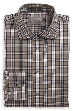 Calibrate  - Trim Fit Non-Iron Plaid Stretch Dress Shirt