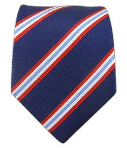 TheTieBar  - 100% Silk Woven Navy Pulsar Striped Boys Tie