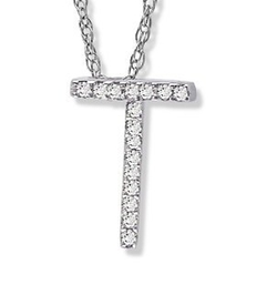 "Amanda Rose Collection  - White Gold Diamond ""T"" Initial Pendant"