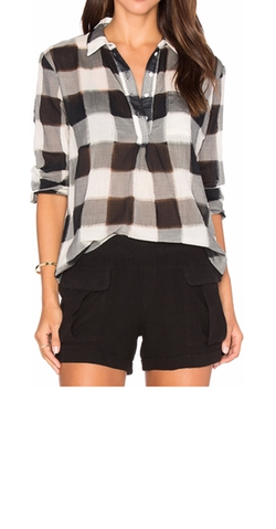 Stateside - Gauze Plaid Shirting Long Sleeve Top