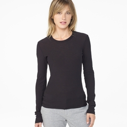 James Perse - Sheer Slub Long Sleeve Crew Top
