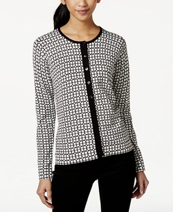 August Silk  - Geo-Print Ribbed-Trim Cardigan