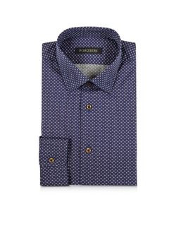 Forzieri - Optical Printed Cotton Slim Fit Shirt