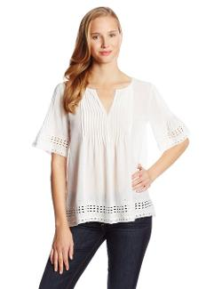 Elie Tahari  - Everla Silk Cotton Crinkle Georgette Short Sleeve Blouse