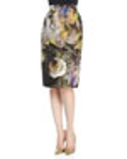 Escada - Abstract Floral Jacquard Pencil Skirt