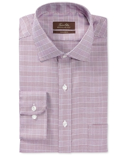 Tasso Elba  - Non-Iron Burgundy Textured Glenplaid Dress Shirt