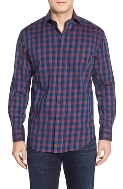 Thomas Dean - Classic Fit Check Poplin Sport Shirt