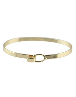 Romwe - Alloy Gold Plated Simple Thin Bangle Bracelet