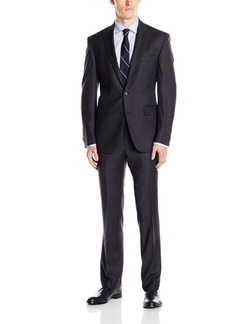 Kenneth Cole New York  - Charcoal Stripe 2 Button Peak Lapel Suit