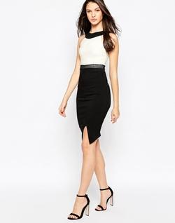 Vesper Julietta -  Midi Dress With Contrast Neck