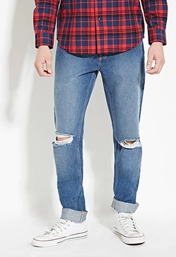 Forever 21 - Distressed Slim Fit Jeans