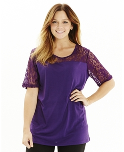 Simply Be - Lace Insert Jersey Top