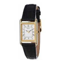Seiko - Gold-Tone Black-Leather Strap Watch