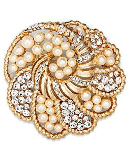 Charter Club  - Gold-Tone Peach Plastic Pearl and Clear Crystal Swirl Pin