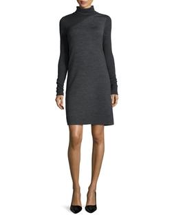 Theory - Tajello Patterned Knit Long-Sleeve Turtleneck Dress