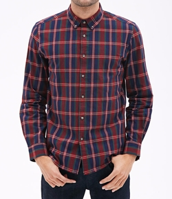 21 Men - Tartan Plaid Collared Shirt