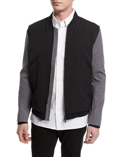 Vince - Highline Mixed Media Varsity Bomber Jacket
