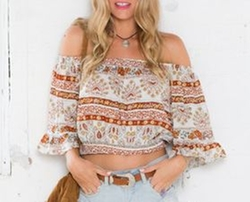 SheIn - Off The Shoulder Vintage Print Crop Blouse