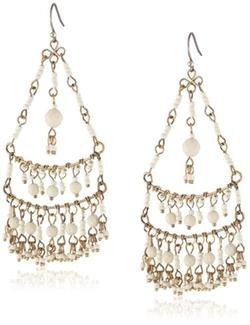 Lucky Brand - Bone-Color Beaded Chandelier Earrings