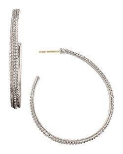 Judith Ripka  - Silver Marina Hoop Earrings