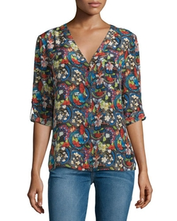 Alice + Olivia - Colby Silk Island Watercolor Blouse