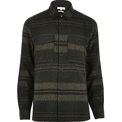 River Island - Stripe Wool-Blend Overshirt