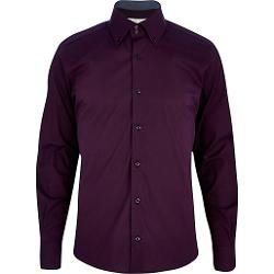 River Island - Dark Purple Double Collar Long Sleeve Shirt