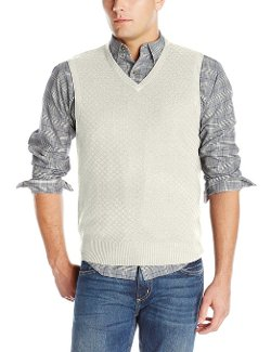 Haggar - Textured Diamond-Stitch V-Neck Sweater Vest