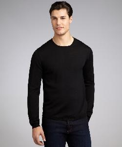PRADA  - Black Wool Long Sleeve Crewneck Sweater