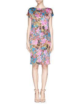 St. John   - Botanica Floral Print Silk Dress