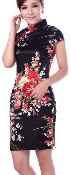 Blingland - Flower Dress Cheongsam Embroidery Qipao Dress