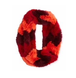 Jocelyn - Chevron Sheared Rabbit Fur Infinity Scarf