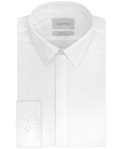 Calvin Klein  - Platinum Slim-Fit White Solid Dress Shirt