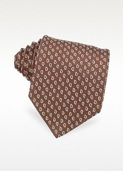 Forzieri - Mini Paisley Design Woven Silk Tie