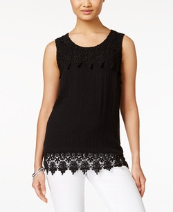 Style & Co. - Crochet-Hem Sleeveless Top