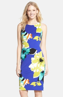 Vince Camuto - Floral Print Scuba Sheath Dress