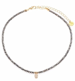Jules Smith  - Diana Faceted Hematite & Pavé Hamsa Choker Necklace