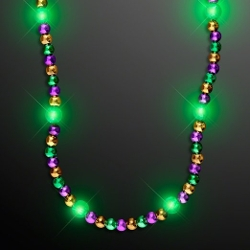 Flashing Blinky Lights - Light Up Mardi Gras Bead Necklace
