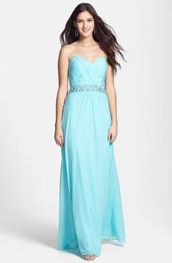 FAVIANA  - Ruched Embellished Strapless Gown
