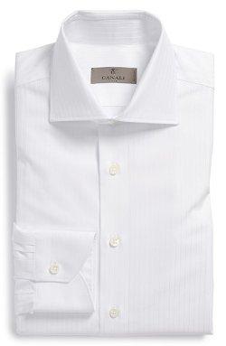 Canali  - Regular Fit Stripe Herringbone Dress Shirt