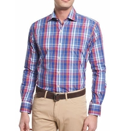 Peter Millar - Melange Plaid Long-Sleeve Sport Shirt