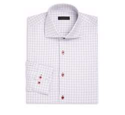 Saks Fifth Avenue Collection  - Tattersall Checked Dress Shirt