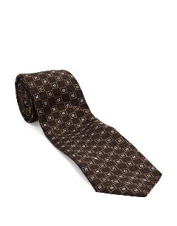 Black Brown 1826  - Classic Fit Medallion Patterned Tie