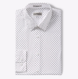 Express - Fitted Micro Print Dress Shirt