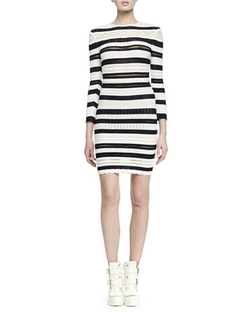 Alexander Mcqueen - Long-Sleeve Striped Lace Bandage Dress