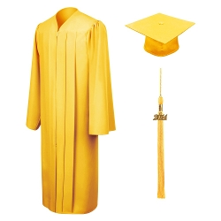 Graduation Cap And Gown - Matte Gold Bachelor Cap, Gown & Tassel