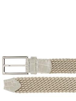 Larusmiani - Woven Viscose & Croc Details Belt