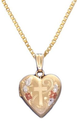 US Jewels And Gems - 14k Gold Heart Locket Necklace