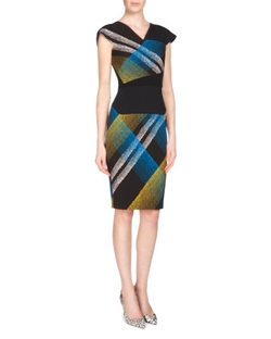 Roland Mouret - Beadle Plaid Beaded Crepe Sheath Dress