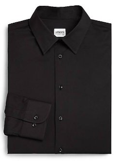 Armani Collezioni  - Solid Cotton Dress Shirt